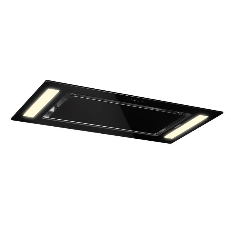 Klarstein Remy stropní digestoř, digestoř na zabudování, 90 cm EEK a 620 m³/h touch LED sklo