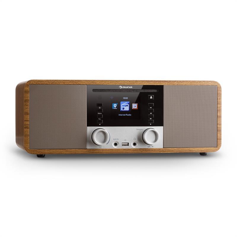 Auna IR-190, internetové rádio, CD přehrávač, WiFi, UPnP, USB, dálkový ovladač, ořech
