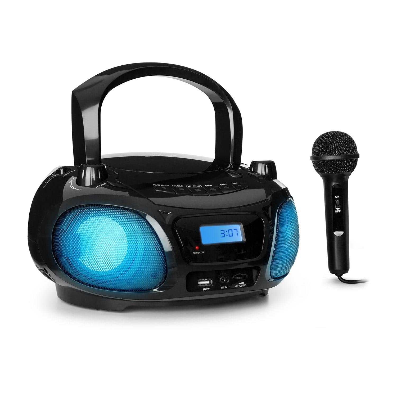 Auna Roadie Sing CD boombox, FM rádio, světelná show, CD přehrávač, mikrofon, černý