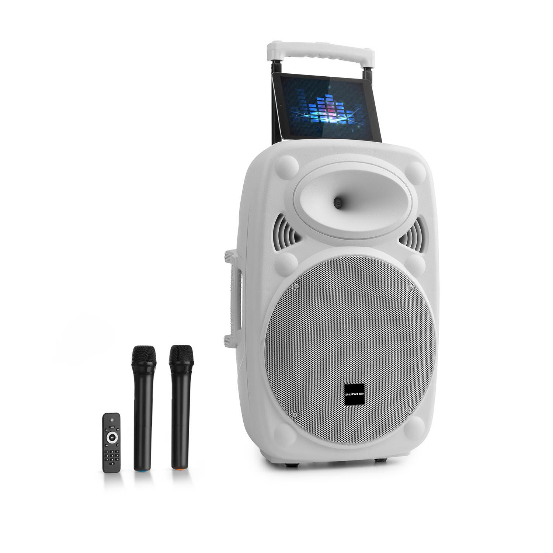 """Auna Pro Streetstar 15, mobilní PA systém, 15"""" (38 cm), 2 x UHF mikrofon, max. 1000 W, bílý"""
