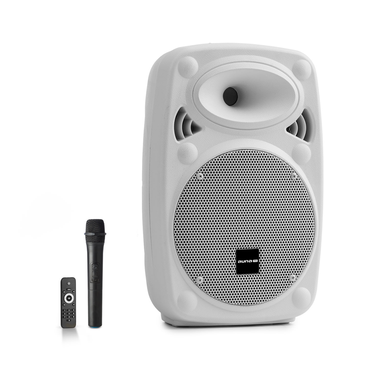 """Auna Pro Streetstar 8, mobilní PA systém, 8"""" (20 cm), UHF mikrofon, max. 200 W, bílý"""