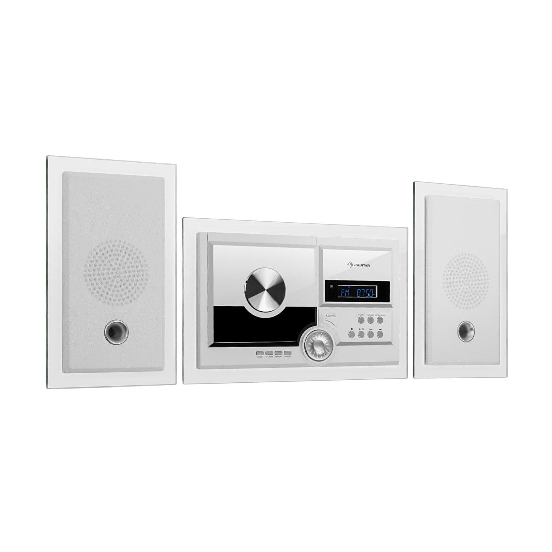 Auna Stereosonic, stereo systém, nástěnná montáž, CD přehrávač, USB, BT, bílý