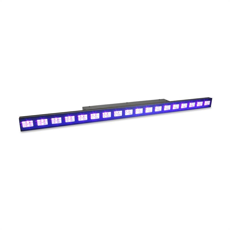 Beamz LCB48 UV LED lišta 18x3W UV LED 9 DMX Master/Slave, černá