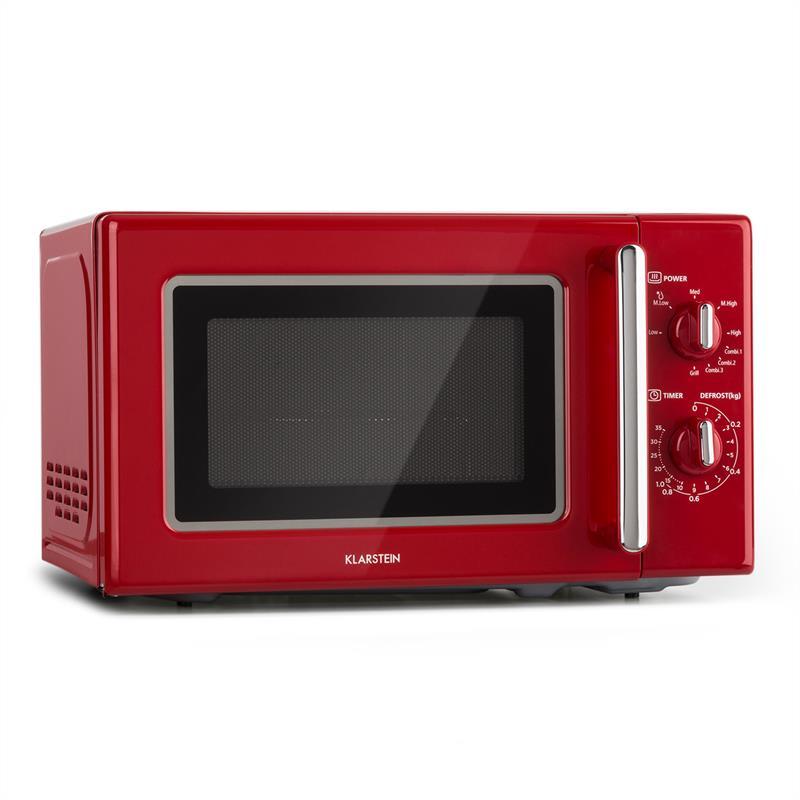 Klarstein Caroline, mikrovlnná rúra, 20 l, 700/1000 W, Ø 25,5 cm, QuickSelect, retro, červená