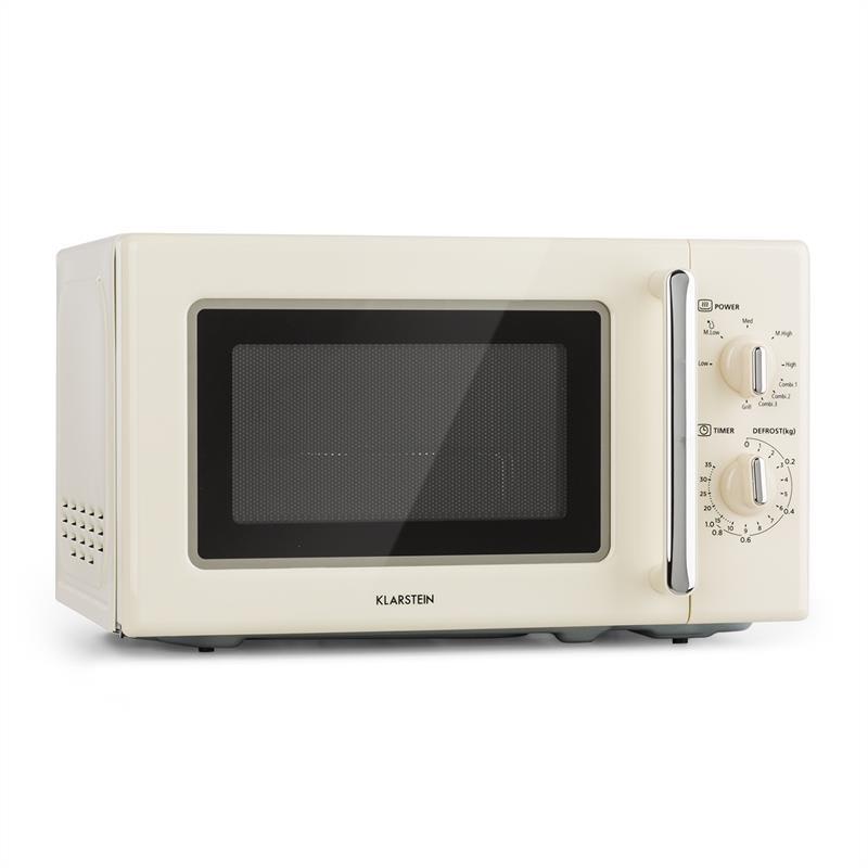 Klarstein Caroline, mikrovlnná rúra, 20 l, 700/1000 W, Ø 25,5 cm, QuickSelect, retro, krémová