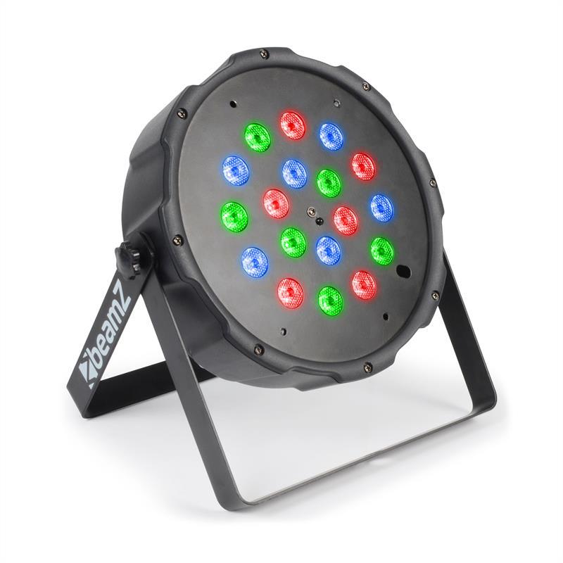 Beamz FlatPAR 118B, 18 x 1W, PAR-reflektor, RGB, LED, DMX, IR, včetně dálkového ovládání