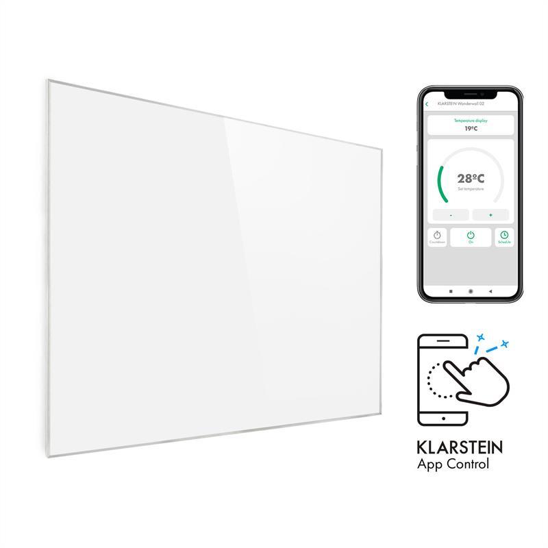 Klarstein Wonderwall 1200 Smart, infračervený ohrievač, 100 x 120 cm, 1200 W, týždenný časovač, biely