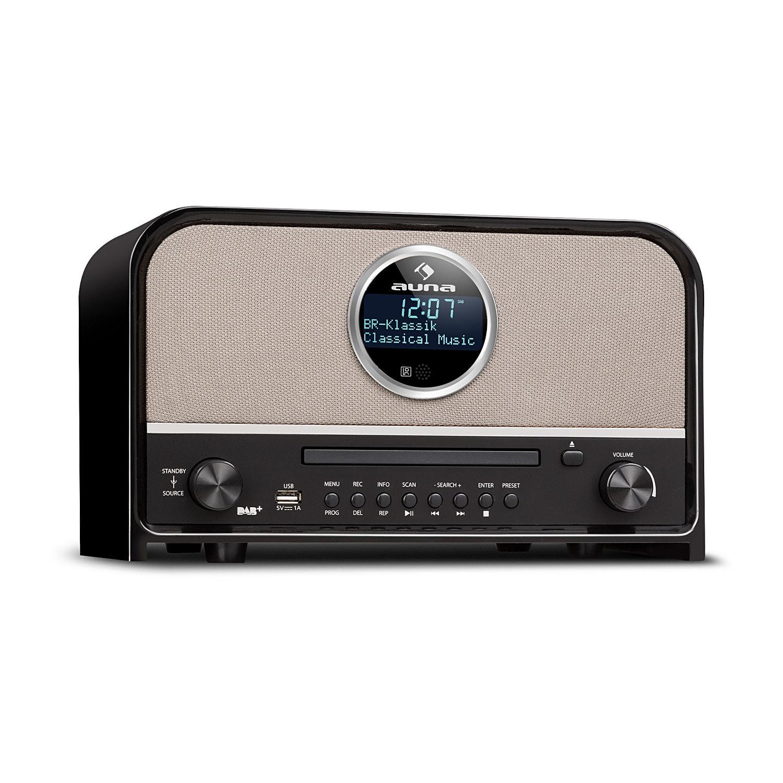 Auna Columbia, DAB rádio, 60 W max., CD, DAB+/FM tuner, BT, MP3, USB, černé