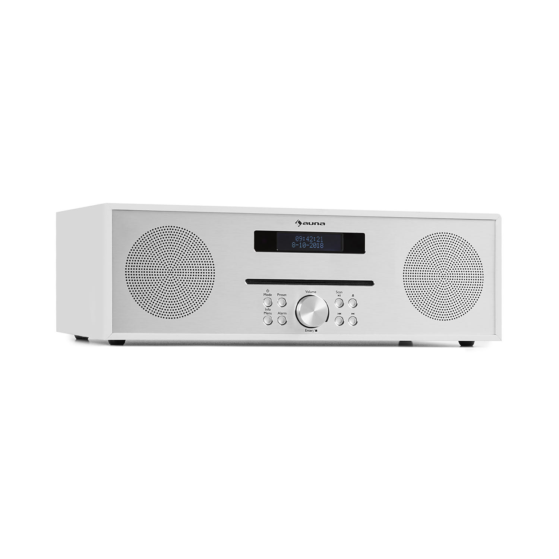 Auna Silver Star CD-FM, rádio s CD, 2x 20 W max., štěrbinový CD přehrávač, FM, BT, ALU, bílý