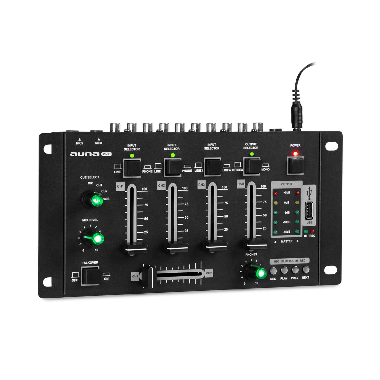 Auna Pro Amnesia, 4-kanálový mixážní pult, BT, USB, MP3, 2 x Micro, černý