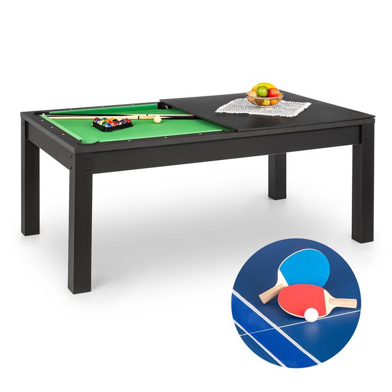 OneConcept Liverpool, 3-v-1, hrací stůl, 7' kulečníkový stůl, stůl na stolní tenis, jídelní stůl, če