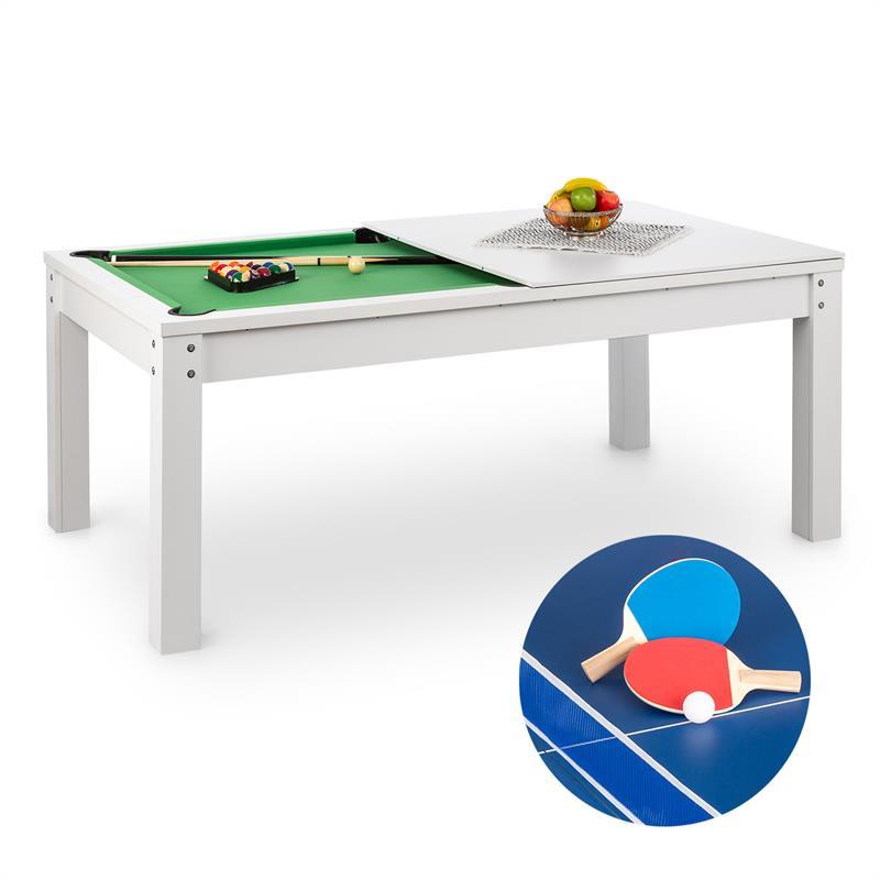 OneConcept Liverpool, 3-v-1, hrací stůl, 7' kulečníkový stůl, stůl na stolní tenis, jídelní stůl, bí