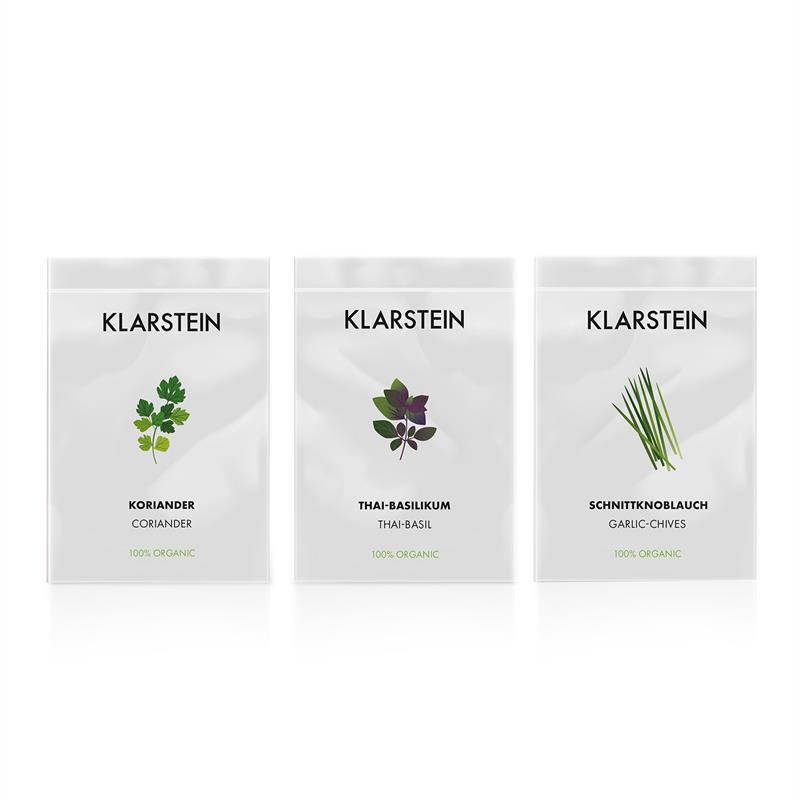 Klarstein GrowIt Seeds Asia, 3 balíčky semen: koriandr, bazalka thajská, česneková pažitka