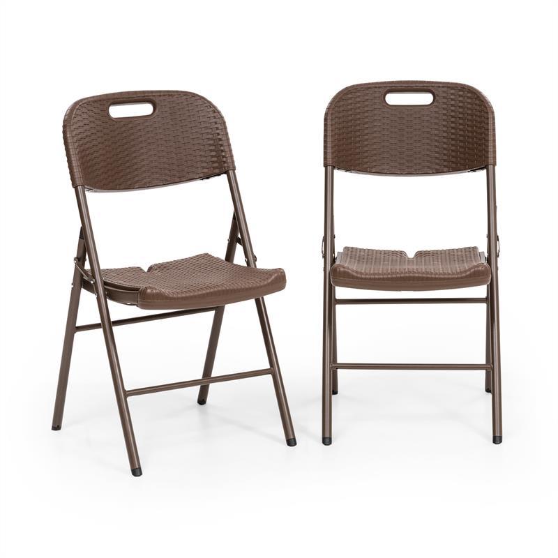 Blumfeldt Burgos seat, skládací židle, sada 2 kusů, HDPE, ocel, ratanový vzhled, hnědá