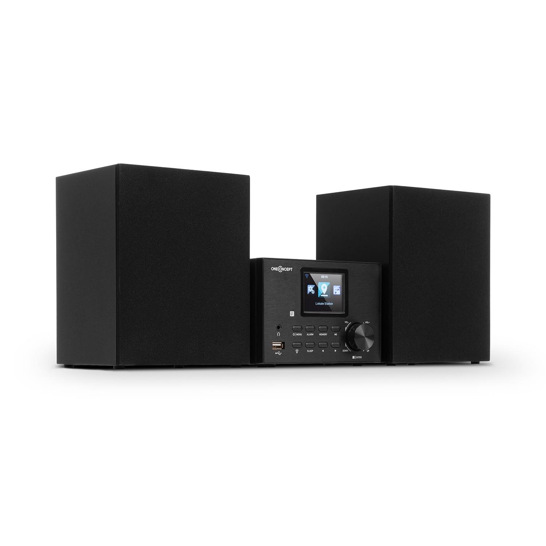 OneConcept Streamo, stereo systém s internetovým rádiem, WLAN, DAB+, FM, CD přehrávač, BT, černý