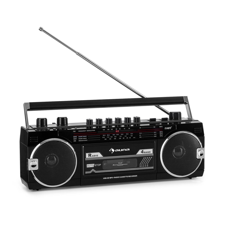 Auna Duke MKII, magnetofon, rádio, BT, USB, SD slot, teleskopická anténa, černý