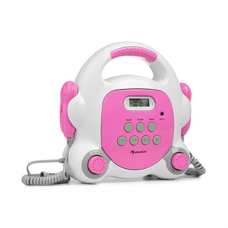 Auna Pocket Rocket BT, karaoke přehrávač, BT, USB port, MP3, 2x mikrofon, růžový