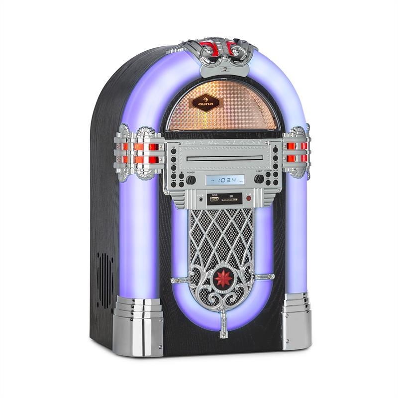 Auna Kentucky, jukebox, BT, FM rádio, USB, SD, MP3, CD přehrávač, bílý