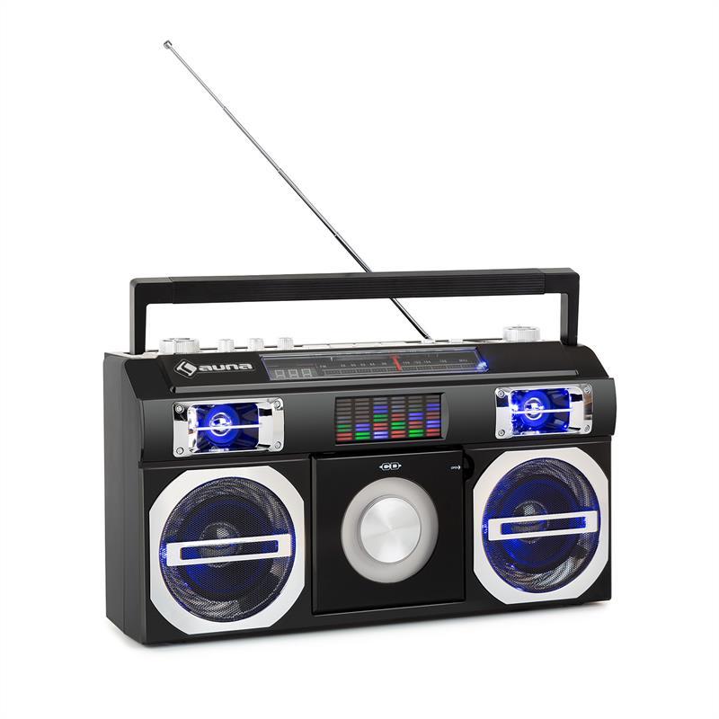 Auna Oldschool, retro přehrávač 80. let, CD, BT, USB, MP3, FM, teleskopická anténa, akumulátor, černý