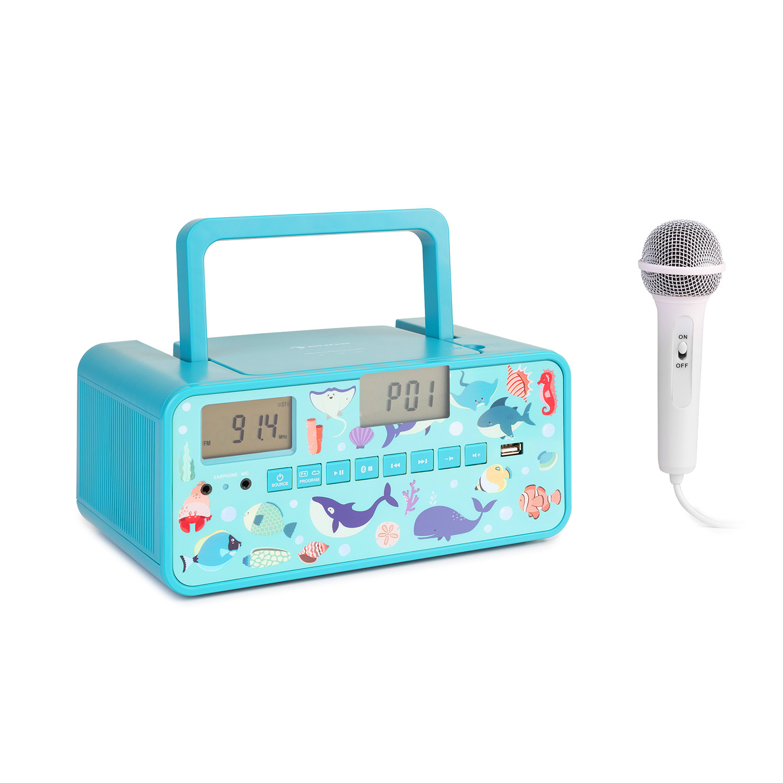 Auna Kidsbox Underwater CD Boombox, CD přehrávač, bluetooth, FM, USB, LED display, tyrkysový