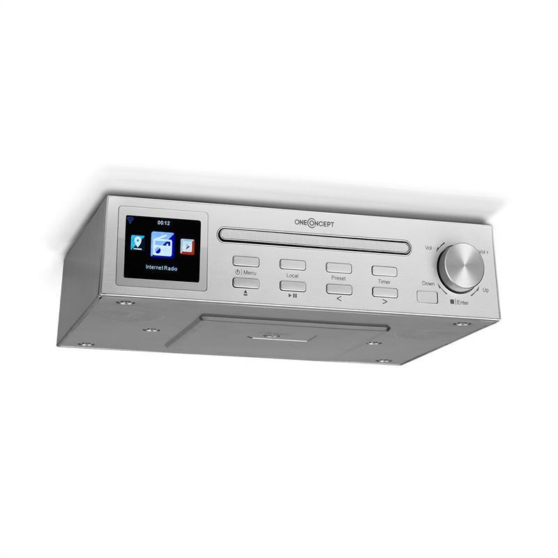 OneConcept Streamo Chef, kuchyňské rádio, CD přehrávač, BT, 2,4'' HCC displej, stříbrné