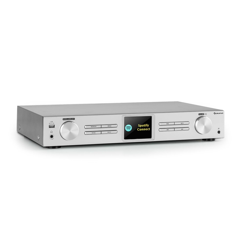 Auna iTuner 320 BT, digitální HiFi tuner, Spotify Connect, BT, ovládání přes aplikaci, stříbrný