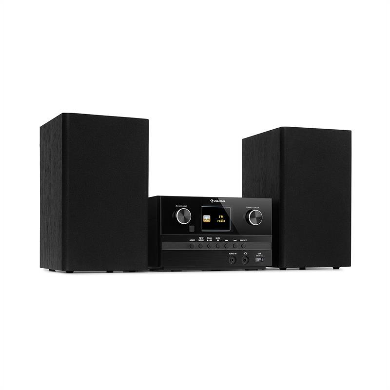Auna Connect System S, stereo systém + reproduktor, 20 W max., internet/DAB+, černý