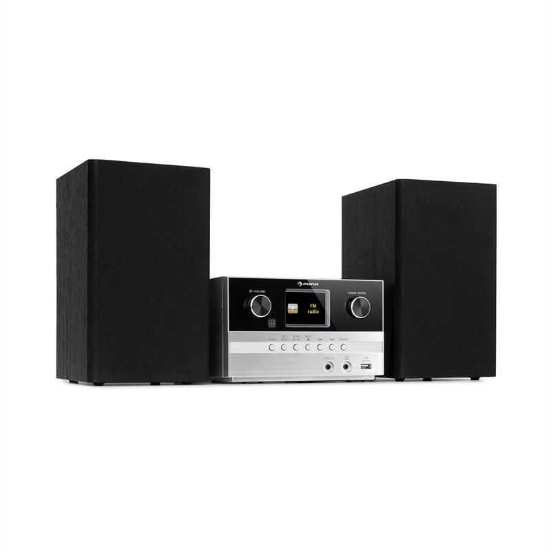 Auna Connect System, stereo systém + reproduktor, 20 W max., internet / DAB +, stříbrný