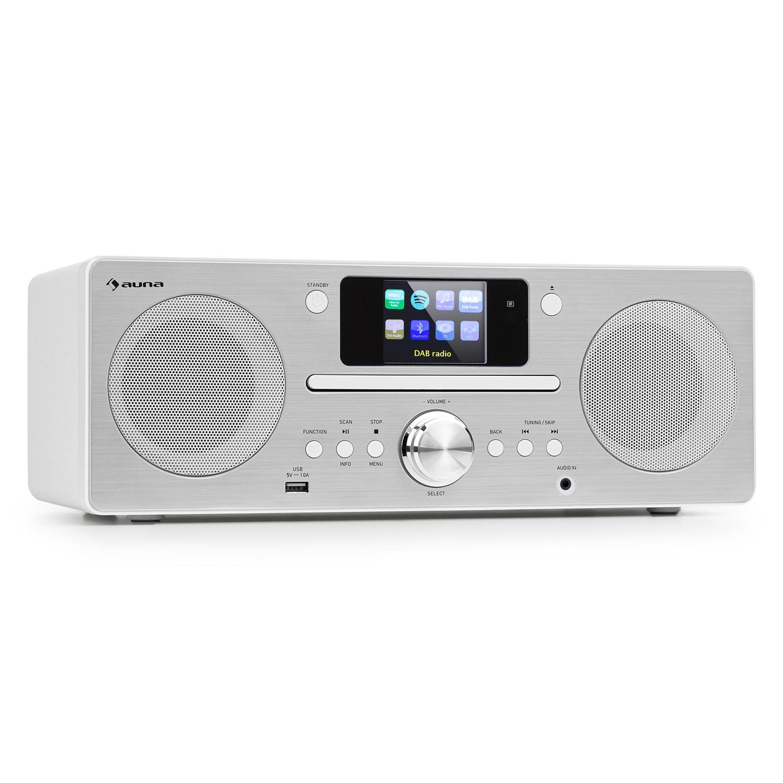 Auna Harvard, kompaktní systém, internetové/DAB1 a UKW rádio, CD přehrávač, bluetooth, bílý