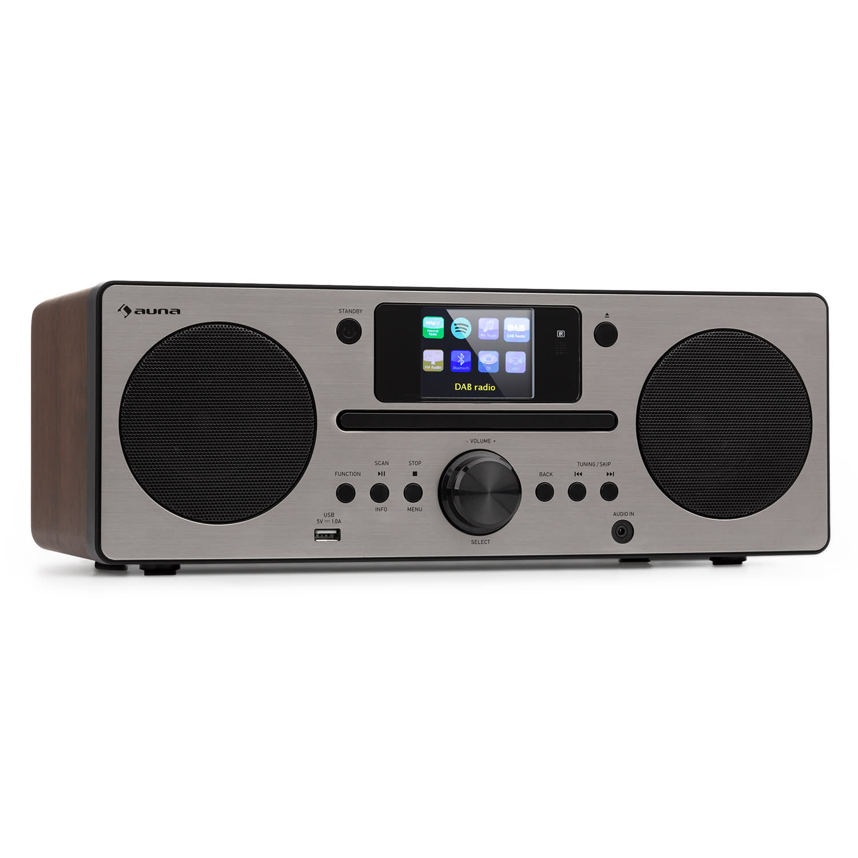 Auna Harvard, kompaktní systém, internetové/DAB1 a UKW rádio, CD přehrávač, bluetooth, ořech