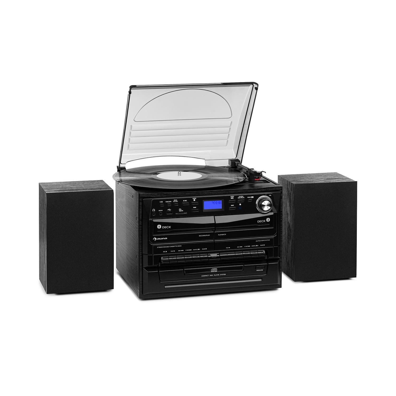 Auna 388-DAB +, stereo systém, 20 W max., desky, CD, kazety, BT, FM / DAB +, USB, SD, černý
