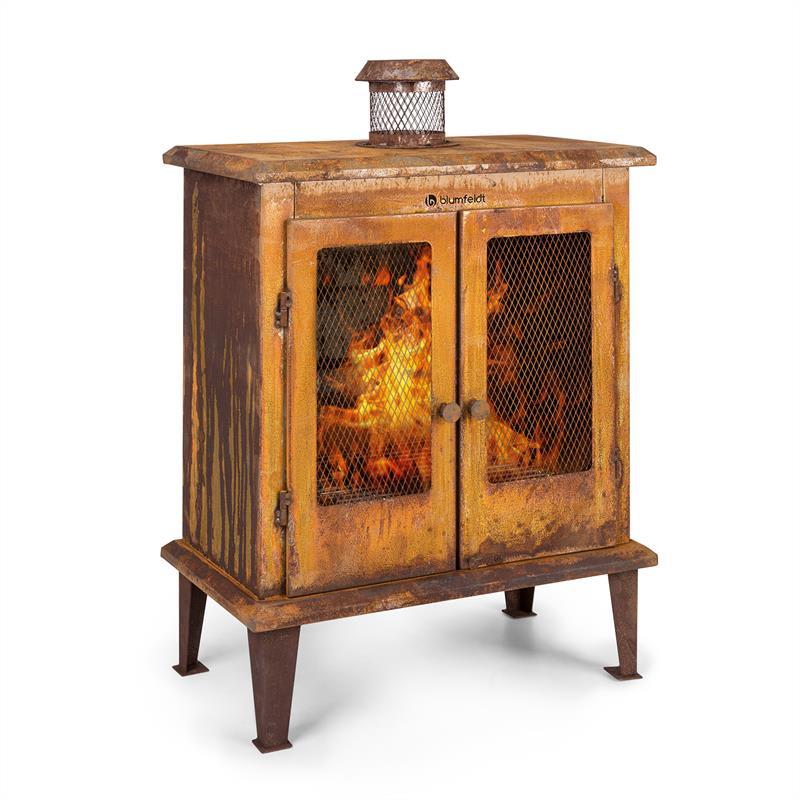 Blumfeldt Flame Locker, ohniště, vintage zahradní krb, 58x30 cm, ocel, rezavý vzhled