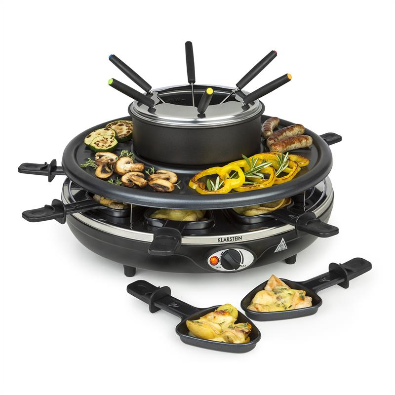 Klarstein Fonduelette, raclette gril a fondue, 1350 W, 1 l, Ø 38 cm, pro 8 osob