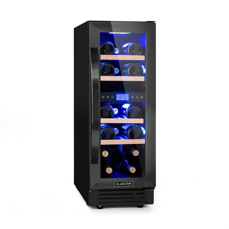 Klarstein Vinovilla 17 Built-in Duo Onyx Edition, dvojzónová vinotéka, 53 l, 17 fliaš, 3-farebné sklenené dvere