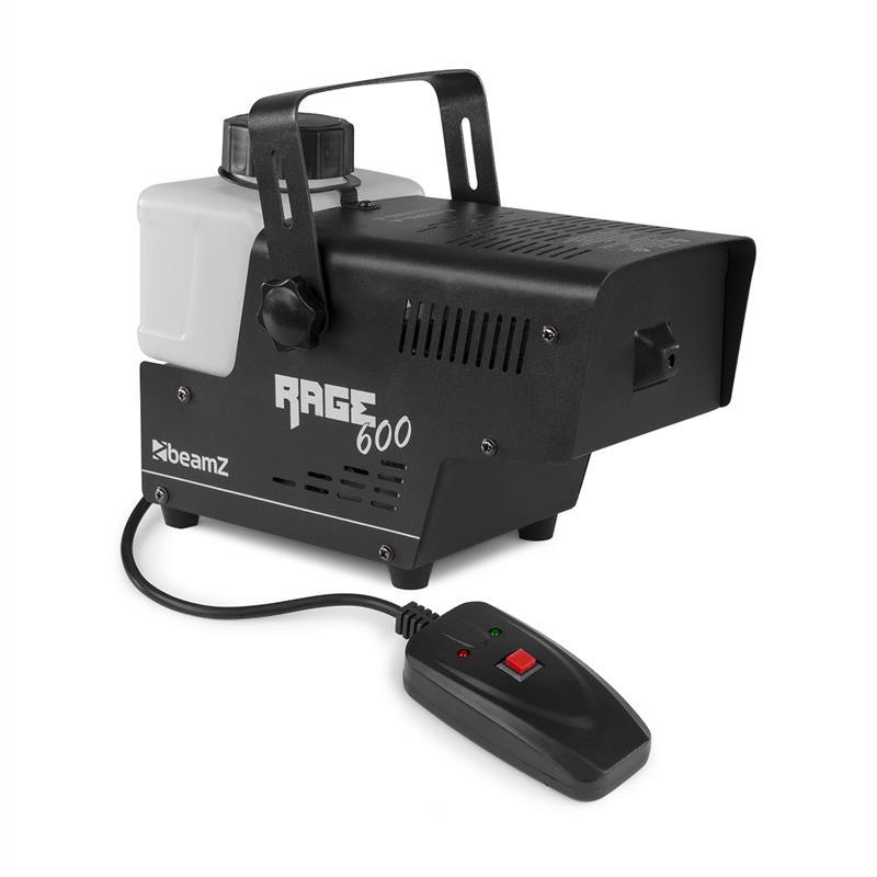Beamz Rage 600, mlhovač, 600 W, 65 m³/min., 0.5 l, dálkový ovladač s kabelem