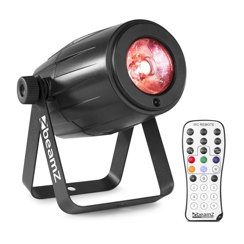 Beamz PS21W, LED pin-spot, reflektor, 12 W, 4 v 1 LED RGBW, IR dálkový ovladač, černý