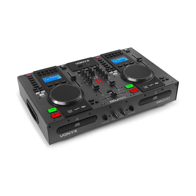 Vonyx CDJ450, DJ pracovní stanice, 2 CD přehrávač BT 2 USB 2-kanálový mixér