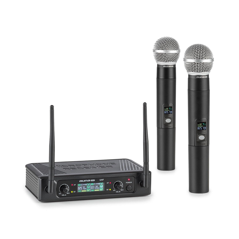 Auna Pro UHF200F-2H, sada 2kanálových UHF bezdrátových mikrofonů, přijímač, 2x ruční mikrofon, černá