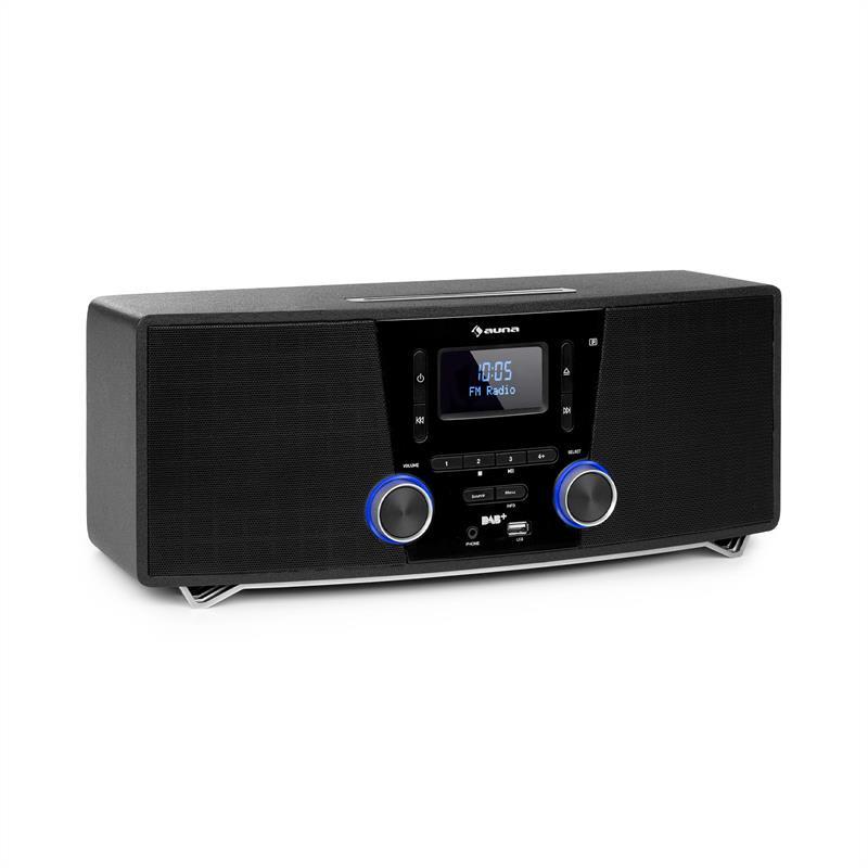 Auna Stockton, mikro stereo systém, max 20W, DAB+, UKW, CD přehrávač, BT, OLED, černý