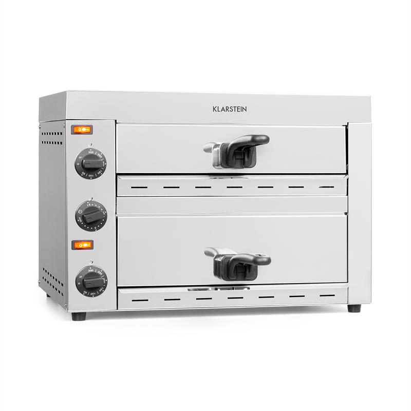 Klarstein Vesuvio II, pec na pizzu, Gastro, 2 komory, 2260W, 300°C, ušľachtilá oceľ, strieborná