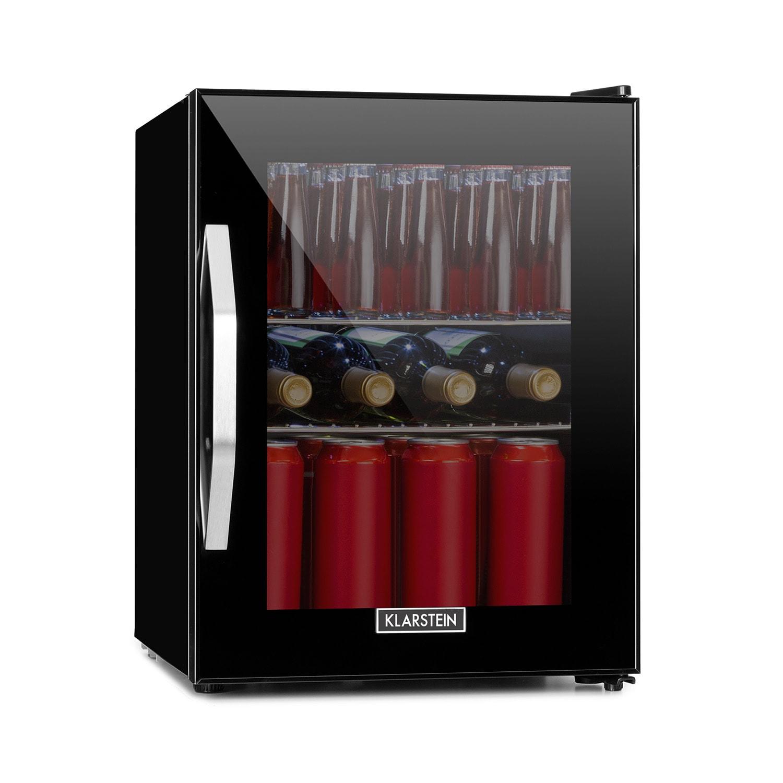 Klarstein Beersafe M Onyx, chladnička, A+, LED, 2 kovové rošty, sklenené dvere, onyx