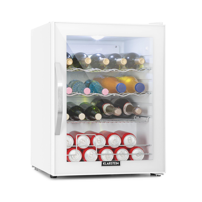Klarstein Beersafe XL Quartz, chladnička, A ++, 60 l, LED, 2 kovové rošty, skleněné dveře, bílá