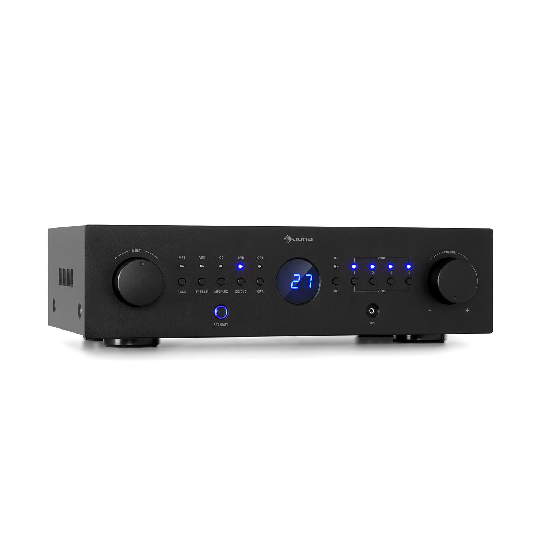 Auna AMP-CD950 DG, digitální vícekanálový zesilovač, 8 x 100 W, BT, opt. vstup, dálkové ovládání