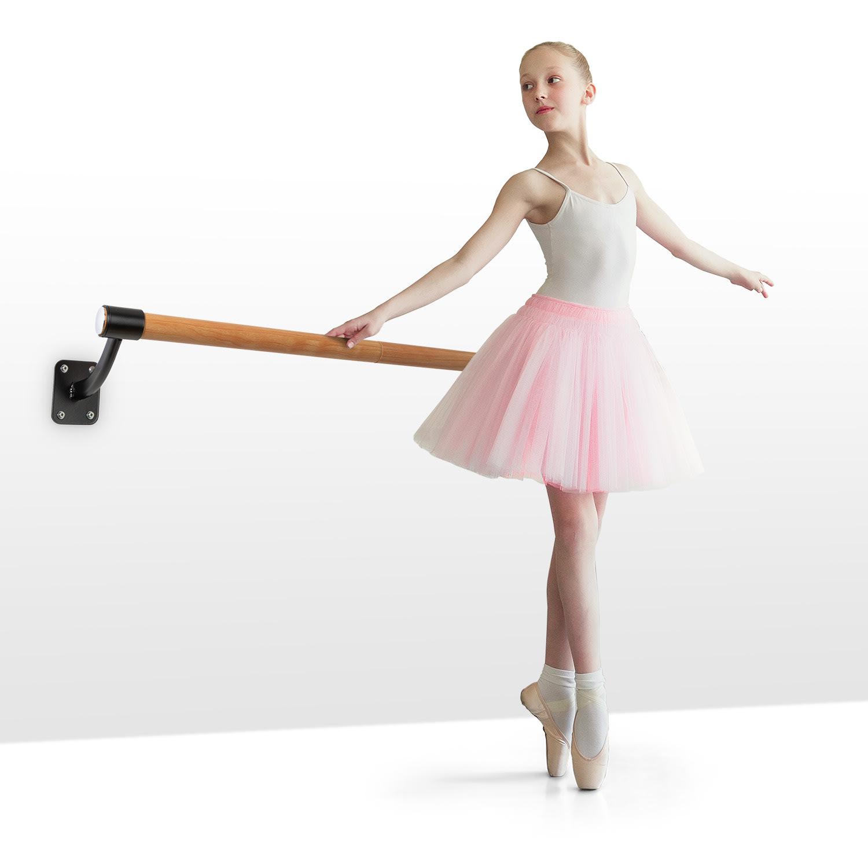 KLARFIT Barre Mur, baletní tyč, 110 cm, žerď 38 mm Ø, nástěnná montáž,bílá