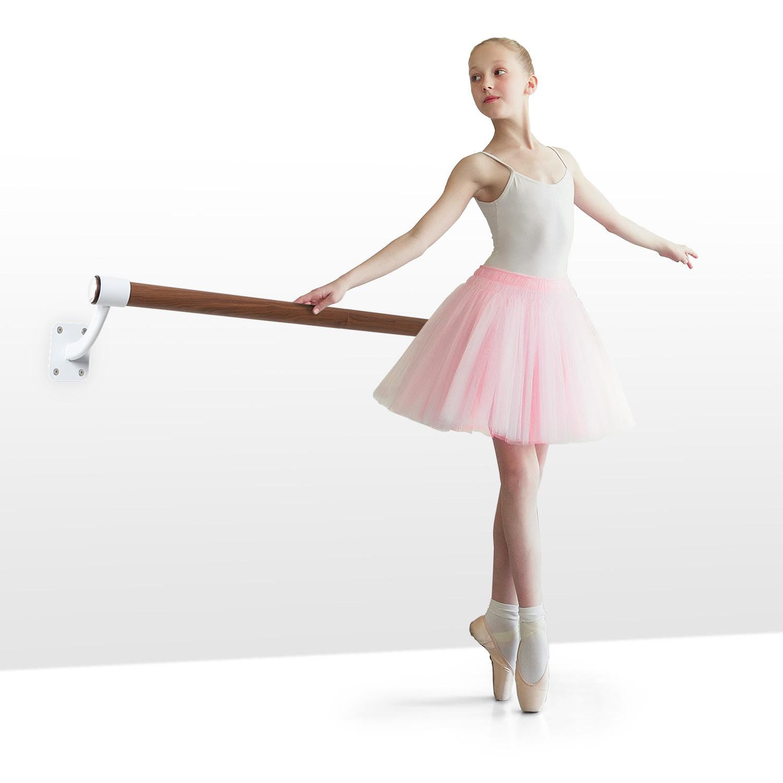 KLARFIT Barre Mur, baletní tyč, 100 cm, žerď 38 mm Ø, nástěnná montáž,bílá