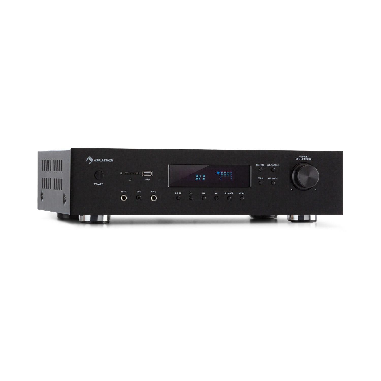 Auna AMP-H260, zesilovač, 2 x 100 W + 3 x 20 W RMS, BT, opt./koax. digitální vstup, černý