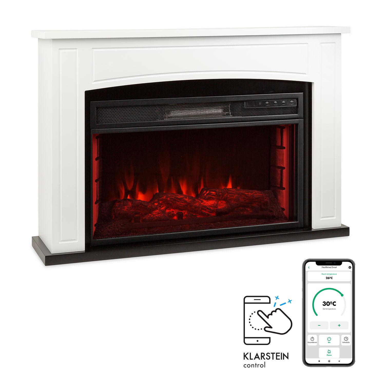 Klarstein Lucerne Smart, elektrický krb, 1000/2000 W, LED, 18 – 27 °C, týždenný časovač, biely