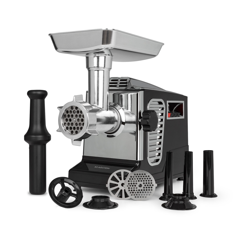 Klarstein Kraftprotz, elektrický mlynček na mäso, 700 W, medený motor, ušľachtilá oceľ, čierny
