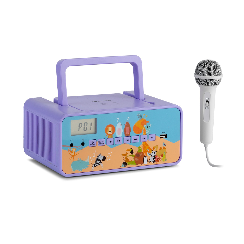 Auna Kidsbox Zoo, CD boombox, CD přehrávač, BT, USB, LC displej, zvířata, fialový