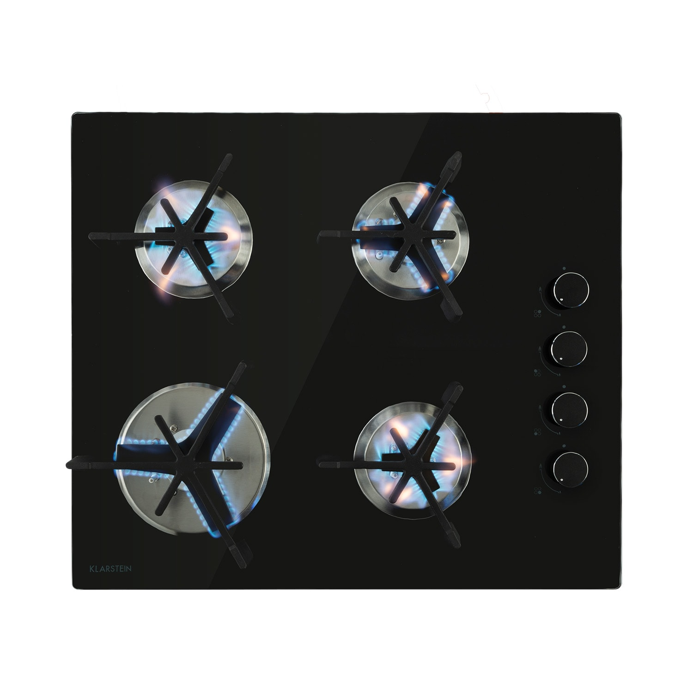 Klarstein Trifecta 4, plynová varná doska, 4 trojuholníkové horáky, sklokeramika, čierna